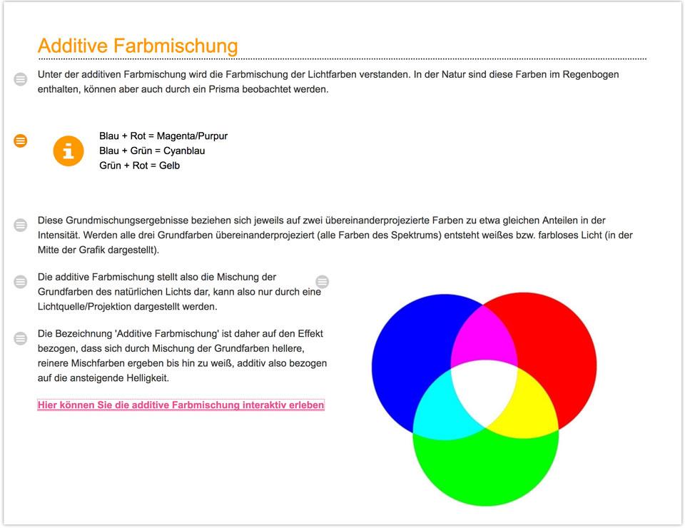 CCDS Projekte - Fachverband Medienproduktion Kursinhalt Additive Farbmischung Übersicht