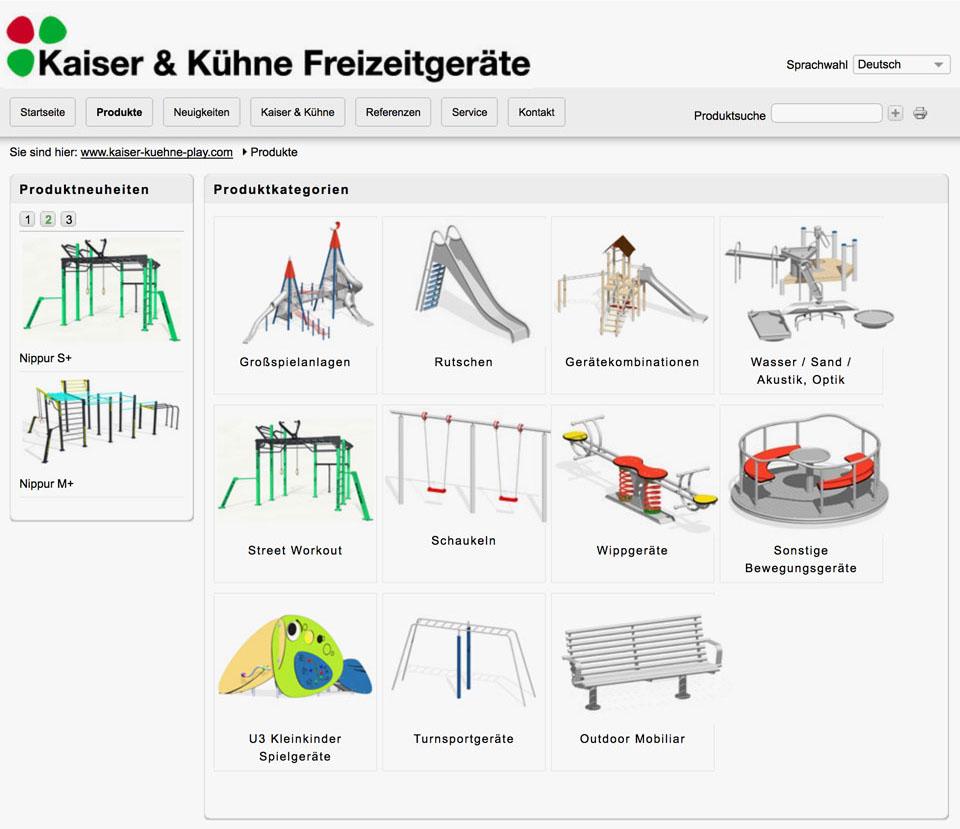 CCDS Projekte - Kaiser und Kühne Freizeitgeräte Website