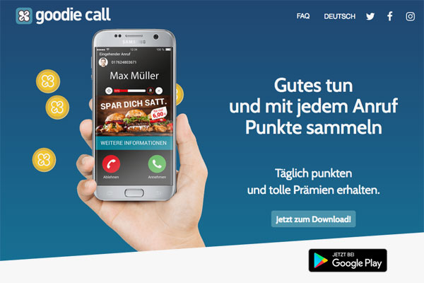 Goodie Call Single-Page-Webseite