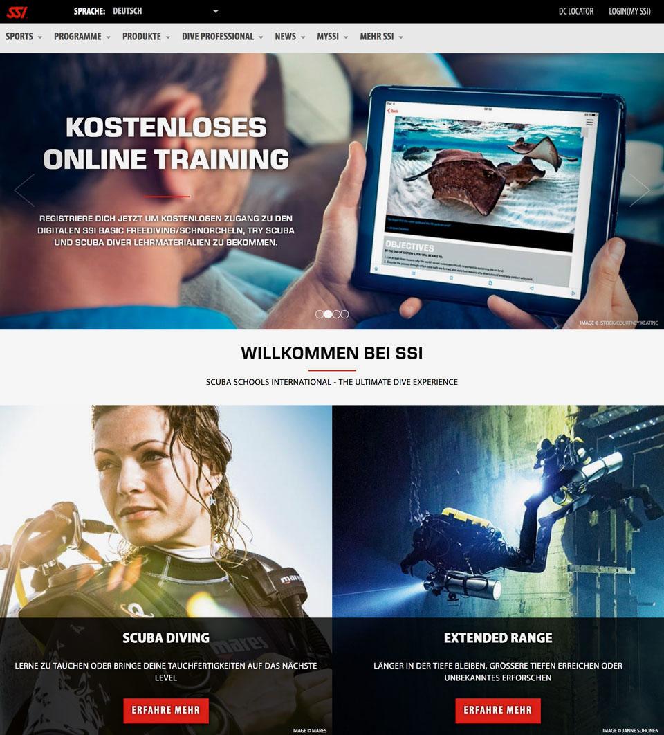 CCDS Projekte - Dive SSI Website Frontpage