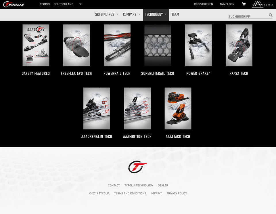 CCDS Projekte - Tyrolia Website Megamenue