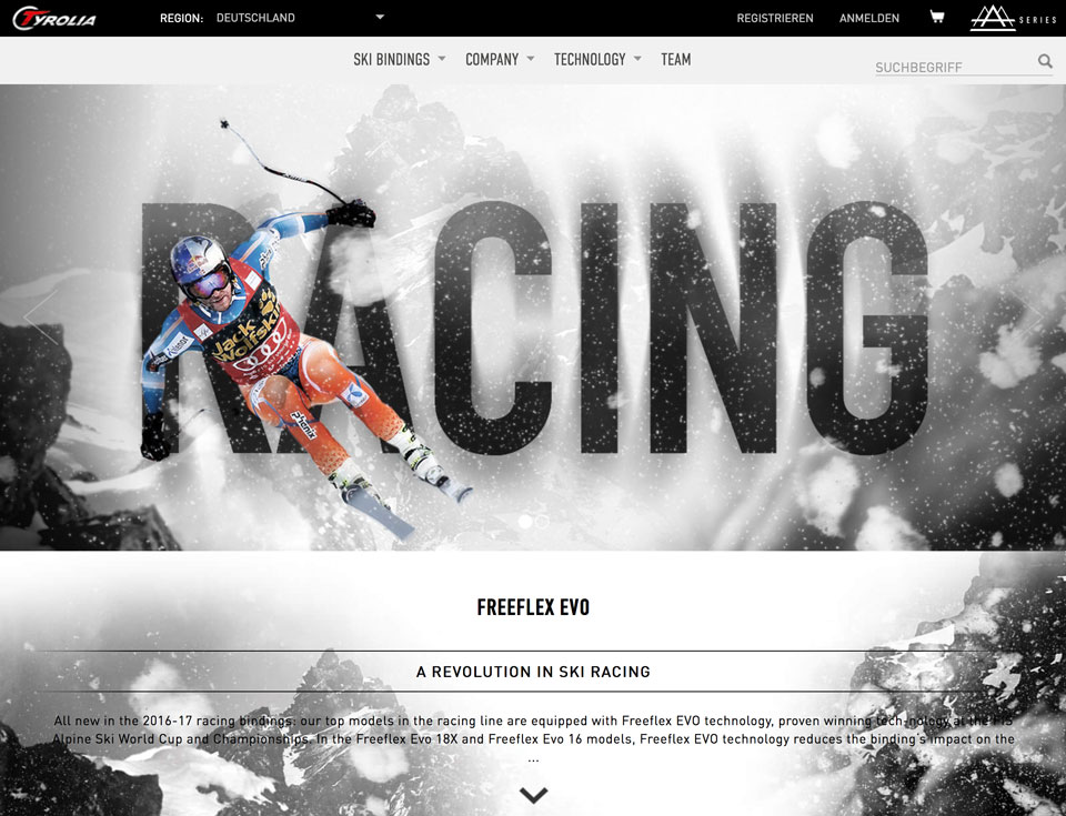 CCDS Projekte - Tyrolia Website Racing